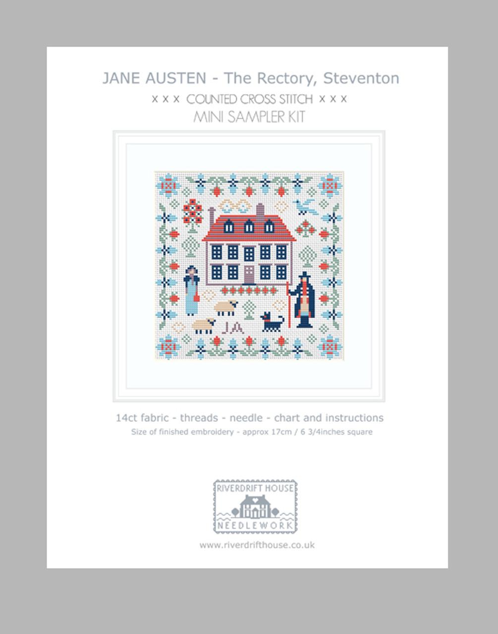 Aida Version CROSS STITCH KIT Jane Austen Sampler by Riverdrift House
