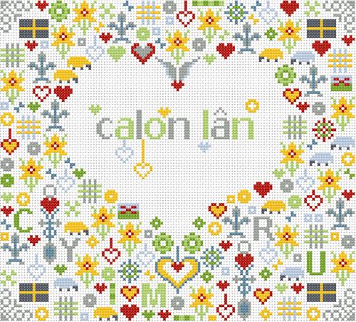 CROSS STITCH KIT 14ct AIDA Welsh, Calon Lan (Pure Heart)