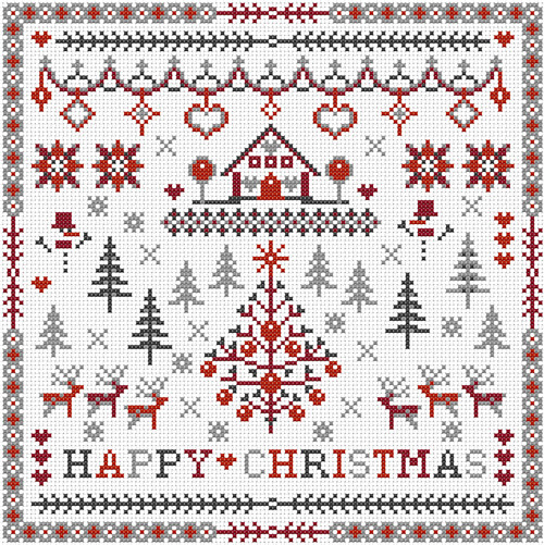 CROSS STITCH KIT 14ct AIDA Christmas, Happy Christmas