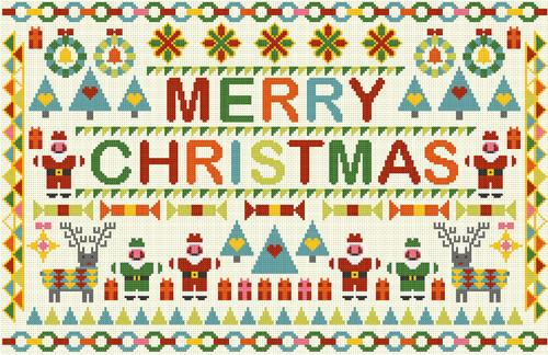 CROSS STITCH KIT 14ct AIDA Christmas, Merry Christmas Patchwork Style