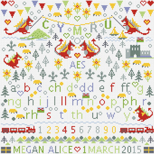 CROSS STITCH KIT 14ct AIDA Children's Little Welsh Dragons Personalised
