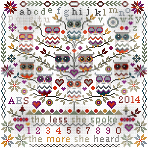 CROSS STITCH KIT 14ct AIDA Owls