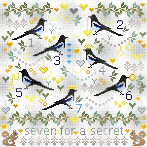 CROSS STITCH KIT 14ct AIDA Magpies