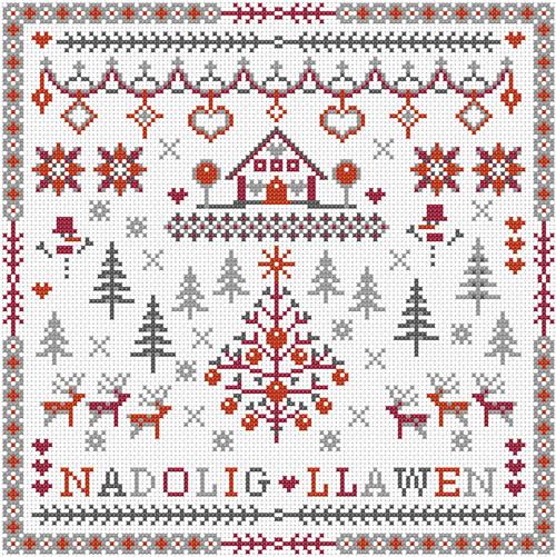 CROSS STITCH KIT 14ct AIDA Christmas, Nadolig Llawen (Welsh)