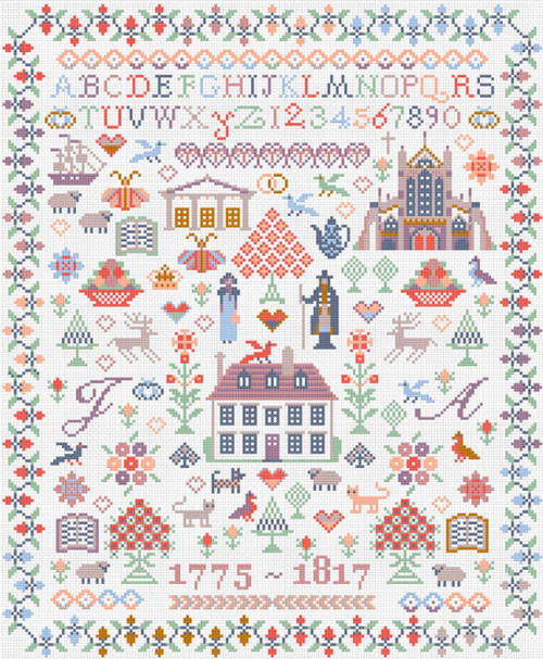 CROSS STITCH KIT 14ct AIDA Jane Austen Sampler