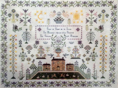 CHART PACK ANTIQUE FRENCH SAMPLER SUN AND MOON