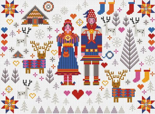 CROSS STITCH KIT 14ct AIDA Folkies, Saami