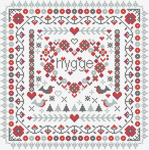 CROSS STITCH KIT 14ct AIDA Hygge Heart