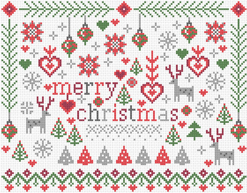 CROSS STITCH KIT 14ct AIDA Christmas, Little Merry Christmas