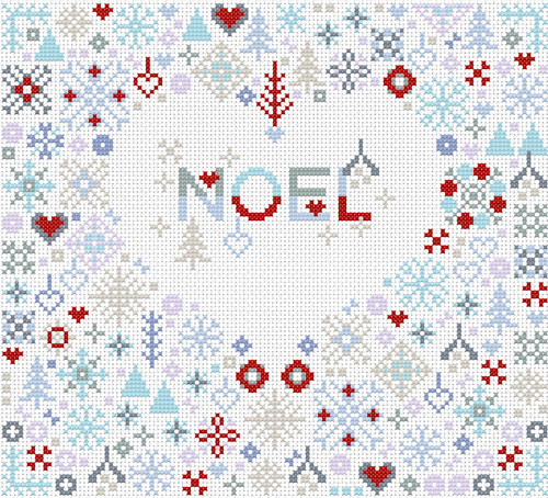 CROSS STITCH KIT 14ct AIDA Christmas Noel Heart