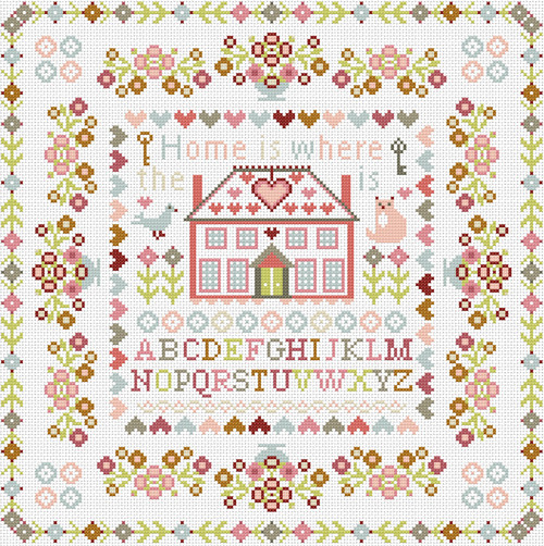 CROSS STITCH KIT 14ct AIDA Home Is Where The Heart Is Square