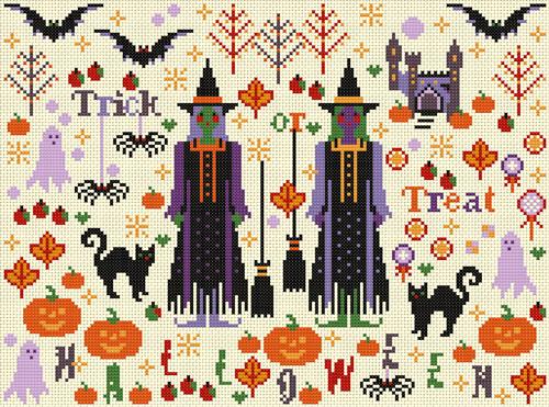 CROSS STITCH KIT 14ct AIDA Halloween Spookies