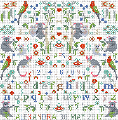 CROSS STITCH KIT 14ct AIDA Children's Little Koalas Personalised