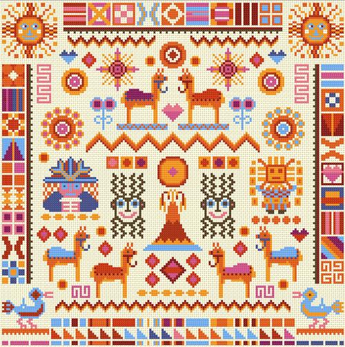 CROSS STITCH KIT 14ct AIDA Inca