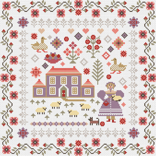 CROSS STITCH KIT 14ct AIDA Lavender House