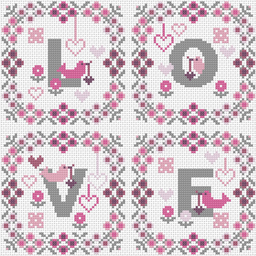 CROSS STITCH KIT 14ct AIDA Love Squares