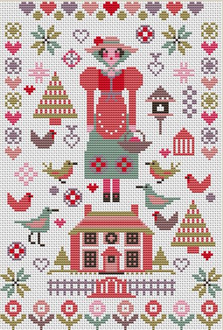 CROSS STITCH KIT 14ct AIDA Mini Pink House