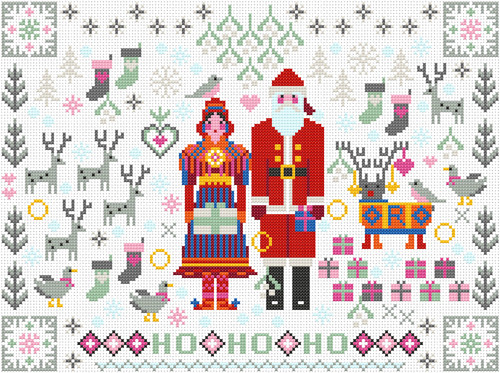 CROSS STITCH KIT 14ct AIDA Christmas Folkies Santa & Mrs Claus