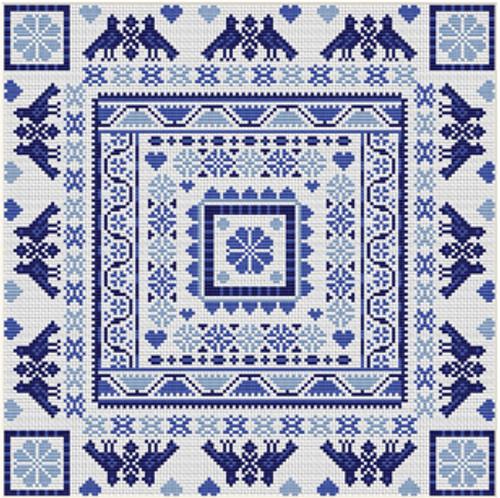CROSS STITCH KIT 14ct AIDA Hungarian Square - Blue