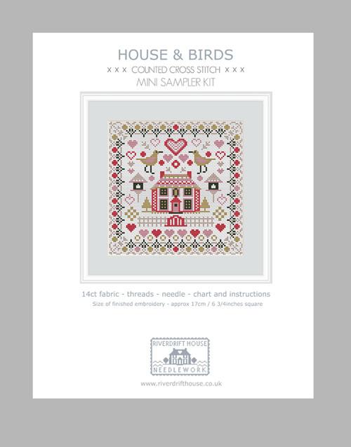 CROSS STITCH KIT 14ct AIDA Mini House & Birds