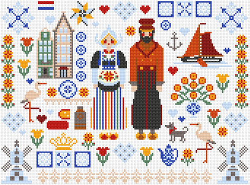 CROSS STITCH KIT 14ct AIDA Folkies, Dutch