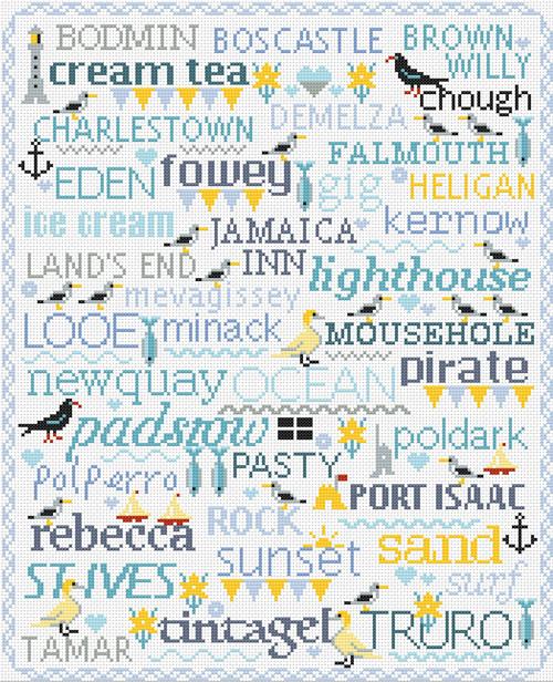 CROSS STITCH KIT 16ct Aida Birds & Words Cornwall