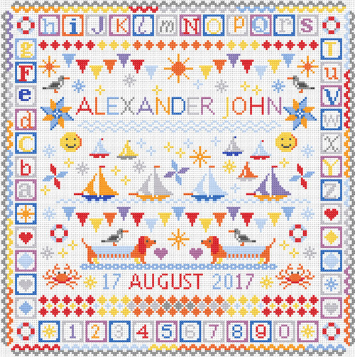 CROSS STITCH KIT 14ct AIDA Children's Seaside Sampler Personalised