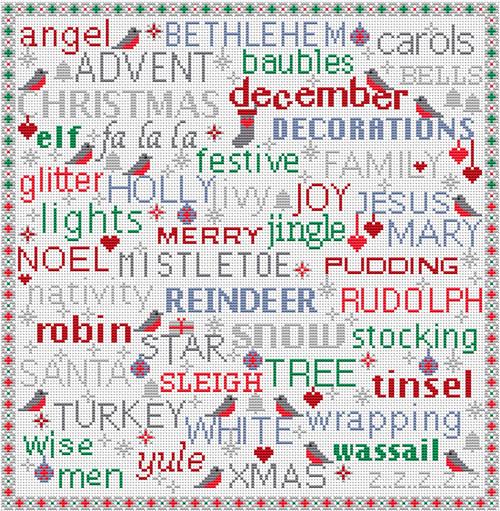 CROSS STITCH KIT 16ct AIDA Christmas Birds & Words