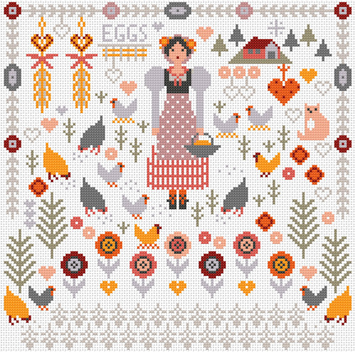 CROSS STITCH KIT 14ct AIDA Country Girl - Hens