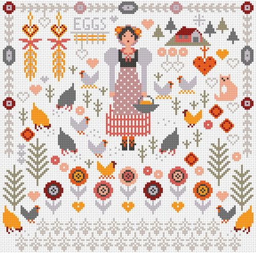 CROSS STITCH KIT 14ct AIDA Country Girl - Hens
