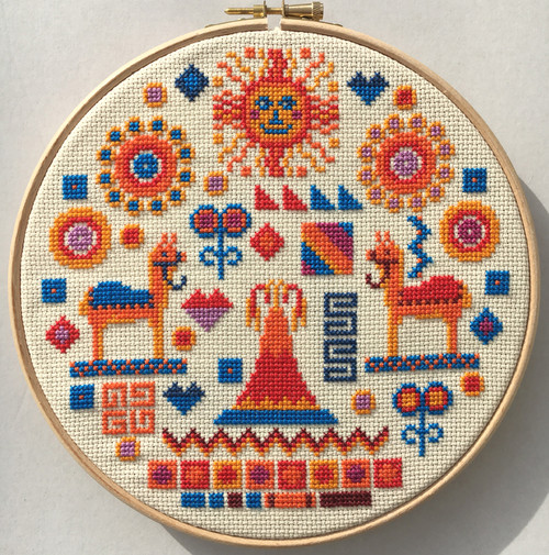 CROSS STITCH KIT 14ct AIDA with HOOP Inca