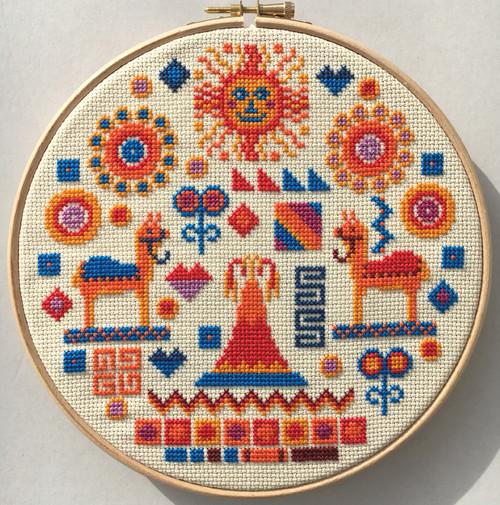 CROSS STITCH KIT 14ct AIDA with HOOP Inca
