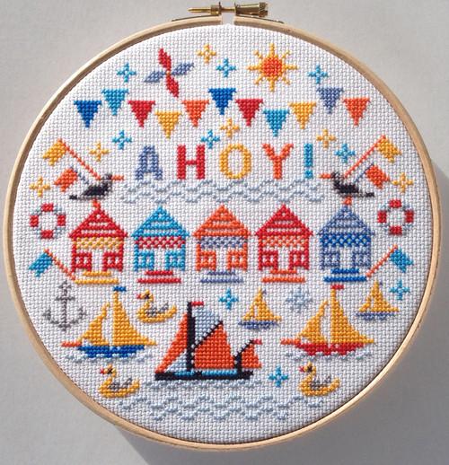 CROSS STITCH KIT 14ct AIDA with HOOP Ahoy!