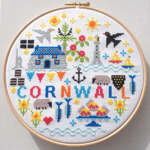 CROSS STITCH KIT 14ct AIDA with HOOP Cornwall
