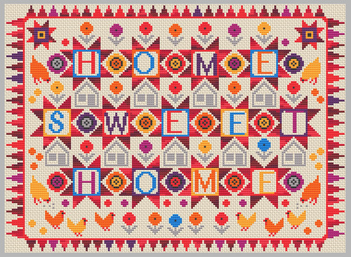 CROSS STITCH KIT 14ct AIDA Home Sweet Home Red Multi