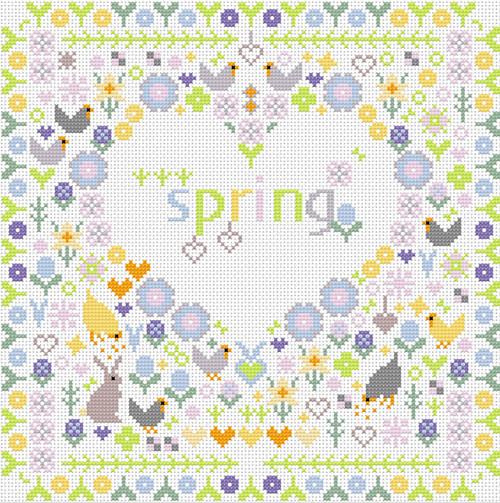 CROSS STITCH KIT 14ct AIDA Spring Heart