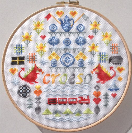 CROSS STITCH KIT 14ct AIDA with HOOP Croeso (Welcome)