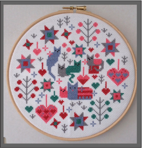 CROSS STITCH KIT 14ct AIDA with HOOP Cat and Kittens