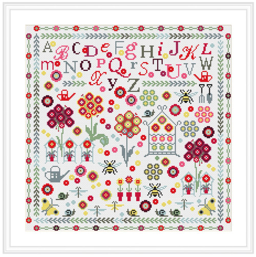 CROSS STITCH KIT 14ct AIDA Auricula Sampler