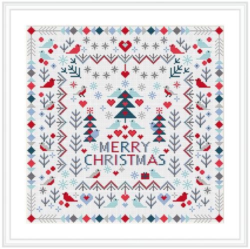 CROSS STITCH KIT 14ct AIDA Christmas, Merry Christmas Birds