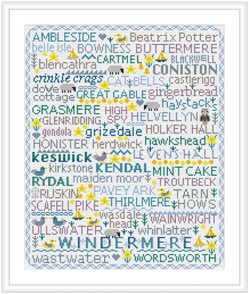 CROSS STITCH KIT 16ct Aida Birds & Words Lake District