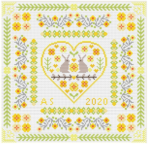 CROSS STITCH KIT 14ct AIDA Bunny Heart Sampler