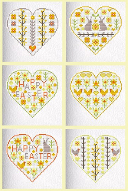 CROSS STITCH KIT (6 MEDIUM GREETINGS CARDS) Spring /Easter Hearts