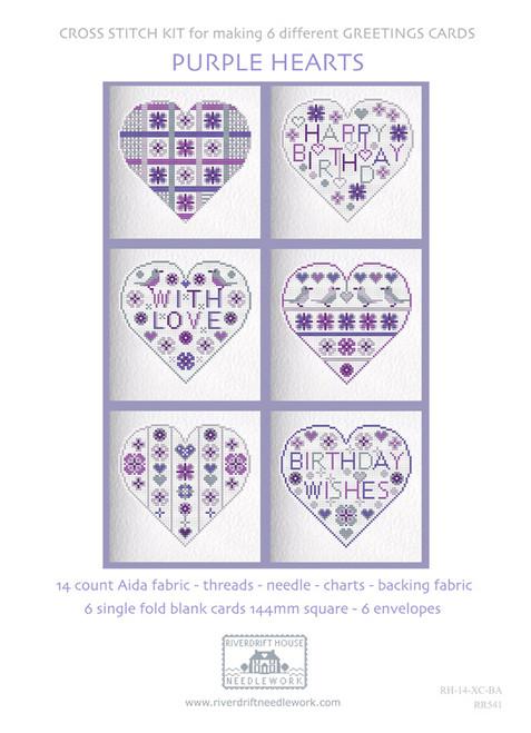CROSS STITCH KIT (6 MEDIUM GREETINGS CARDS) Purple/Birthday Hearts