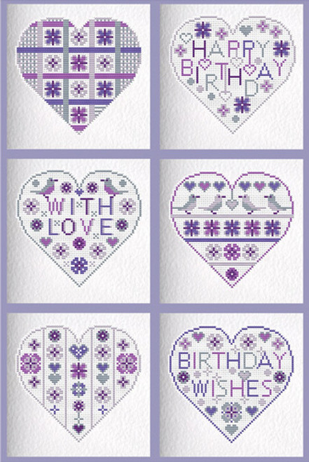 CROSS STITCH KIT (6 MEDIUM GREETINGS CARDS) Purple/Birthday Hearts