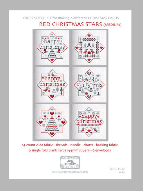 CROSS STITCH KIT (6 MEDIUM GREETINGS CARDS) Red Xmas Stars