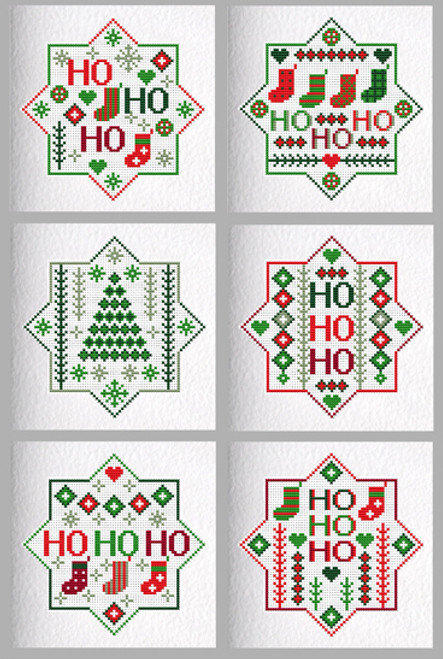 CROSS STITCH KIT (6 MEDIUM GREETINGS CARDS) Ho Ho Ho Stars