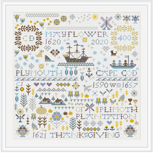 CROSS STITCH KIT 14ct Aida MAYFLOWER 400 SAMPLER