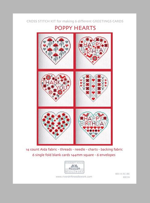 CROSS STITCH KIT (6 MEDIUM GREETINGS CARDS) Poppy Hearts