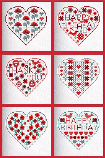 CROSS STITCH KIT (6 MEDIUM GREETINGS CARDS) Poppy Hearts